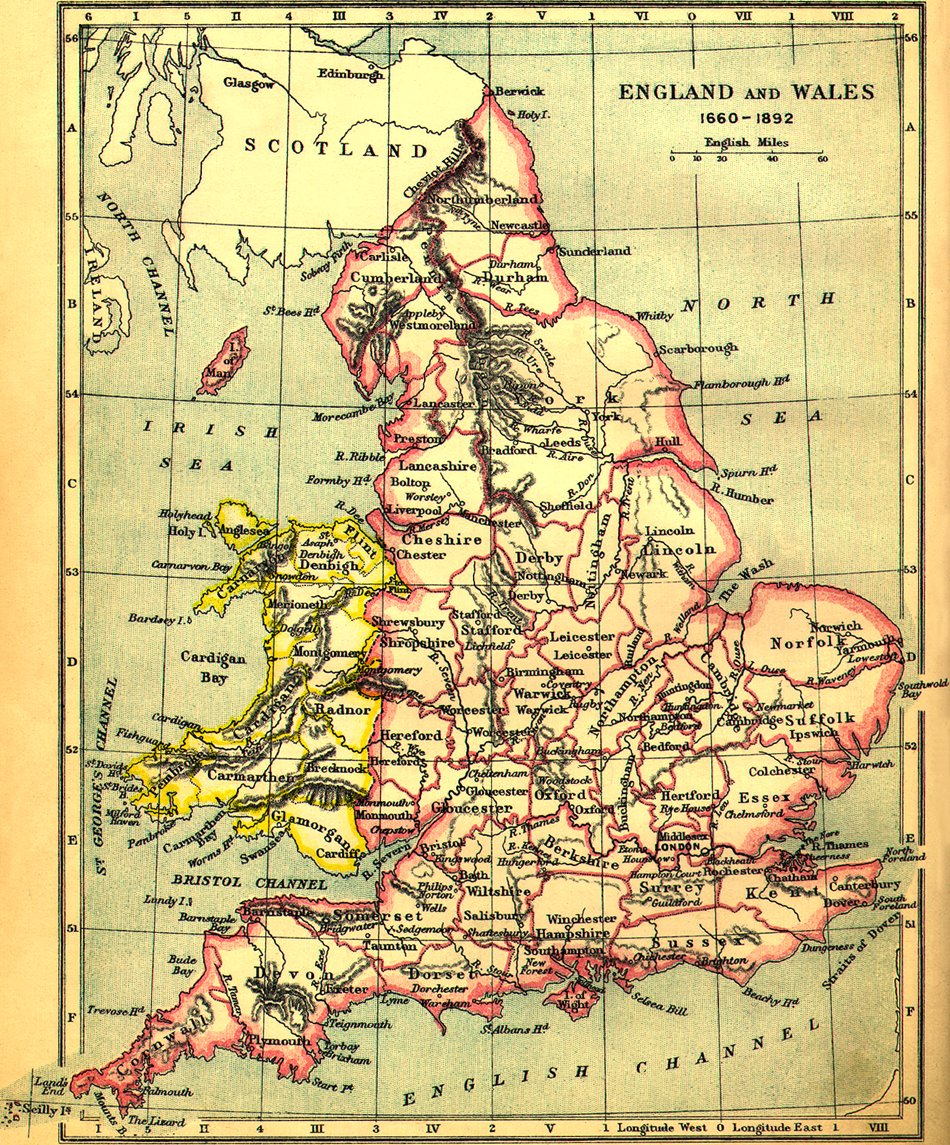 Map of England and Wales with Monmouthshire in England Late 19th