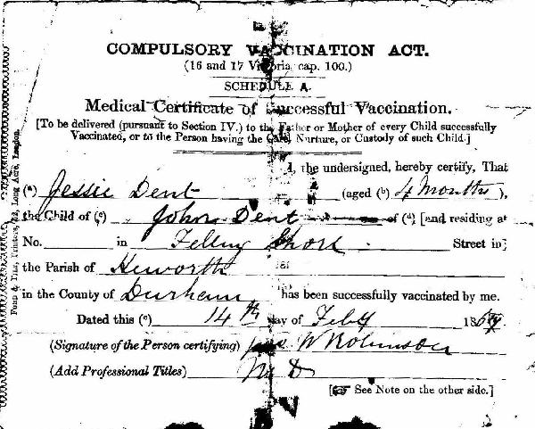Vaccination Certificate - Front