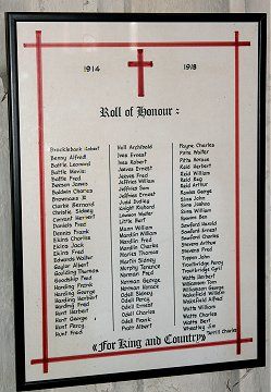 The Roll of Honour for WWI in St. Edmund's Church, Blunham