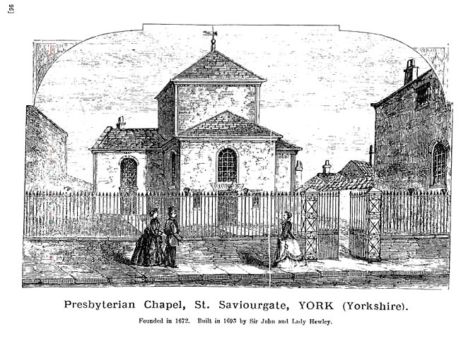 An old drawing of the Unitarian Chapel, York