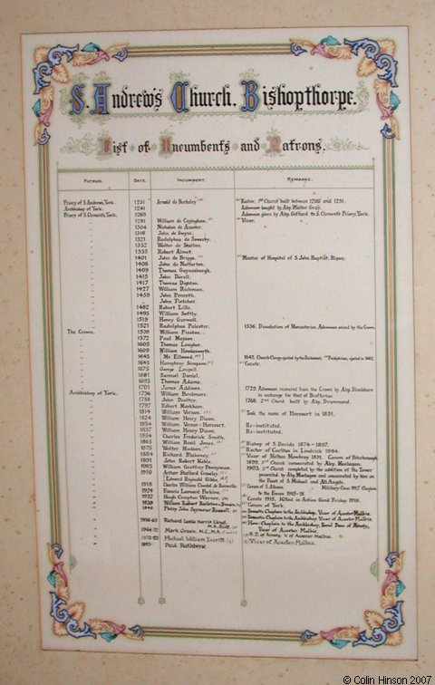 The List of Incumbents of St. Andrew's Church, Bishopthorpe.