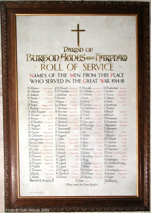 The 1914-18 Roll of Honour in Burton Agnes Church.