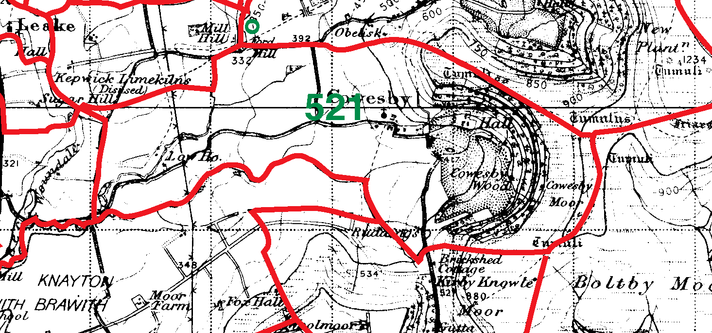 Cowesby boundaries map