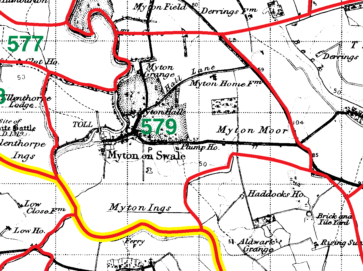 Myton Upon Swale boundaries map