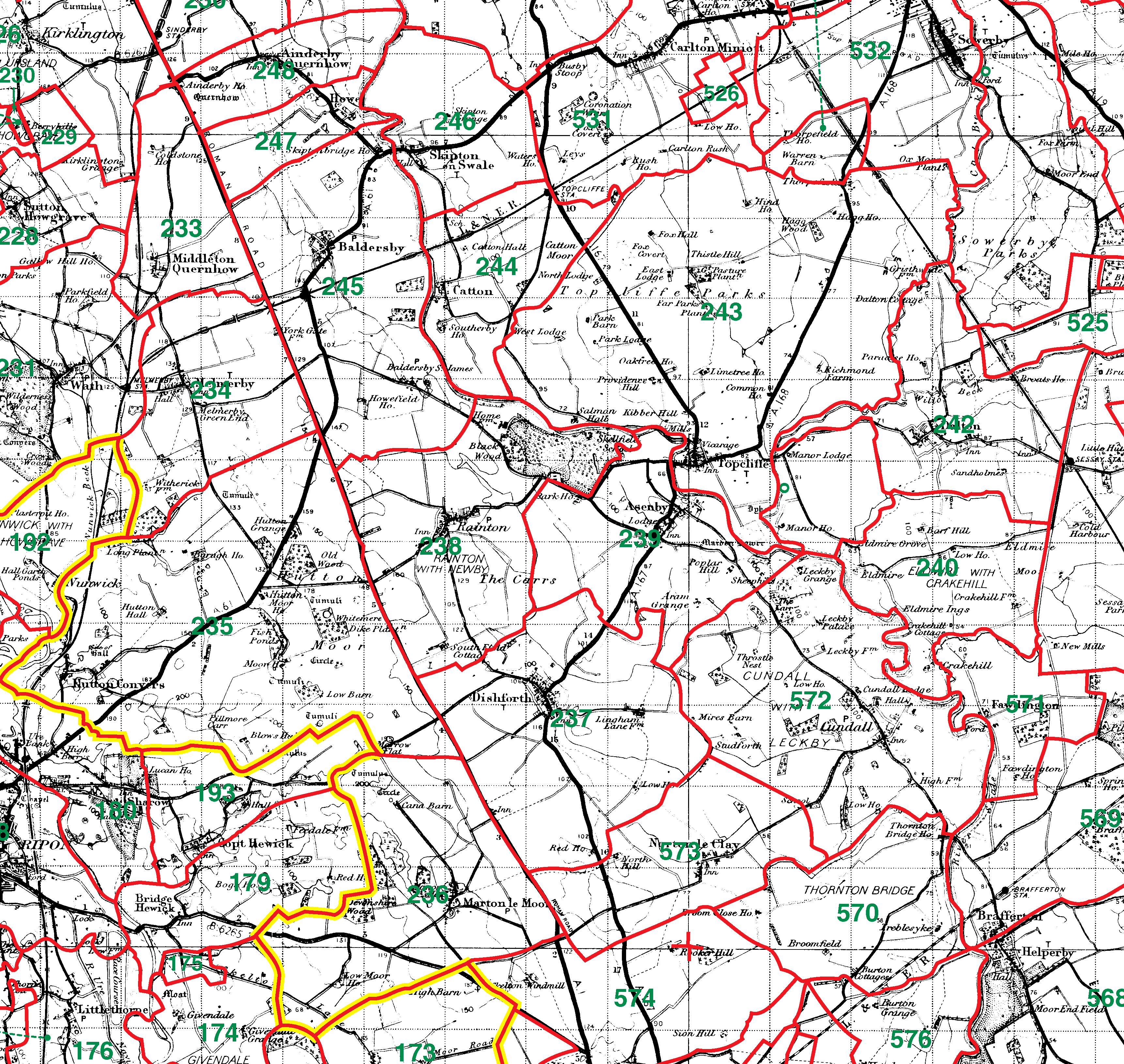 Topcliffe boundaries map
