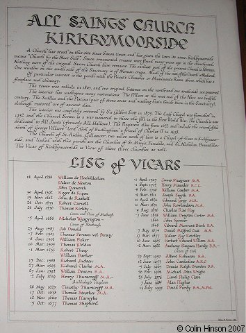 The List of Vicars in All Saints Church, Kirkbymoorside.