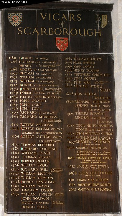The List of Vicars in St. Mary's Church, Scarborough.