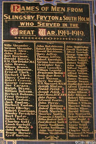 The 1914-1919 Roll of Honour in the Church.