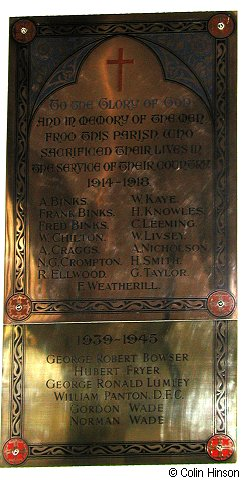 The War Memorial Plaque in St. Nicholas's Church, West Tanfield.
