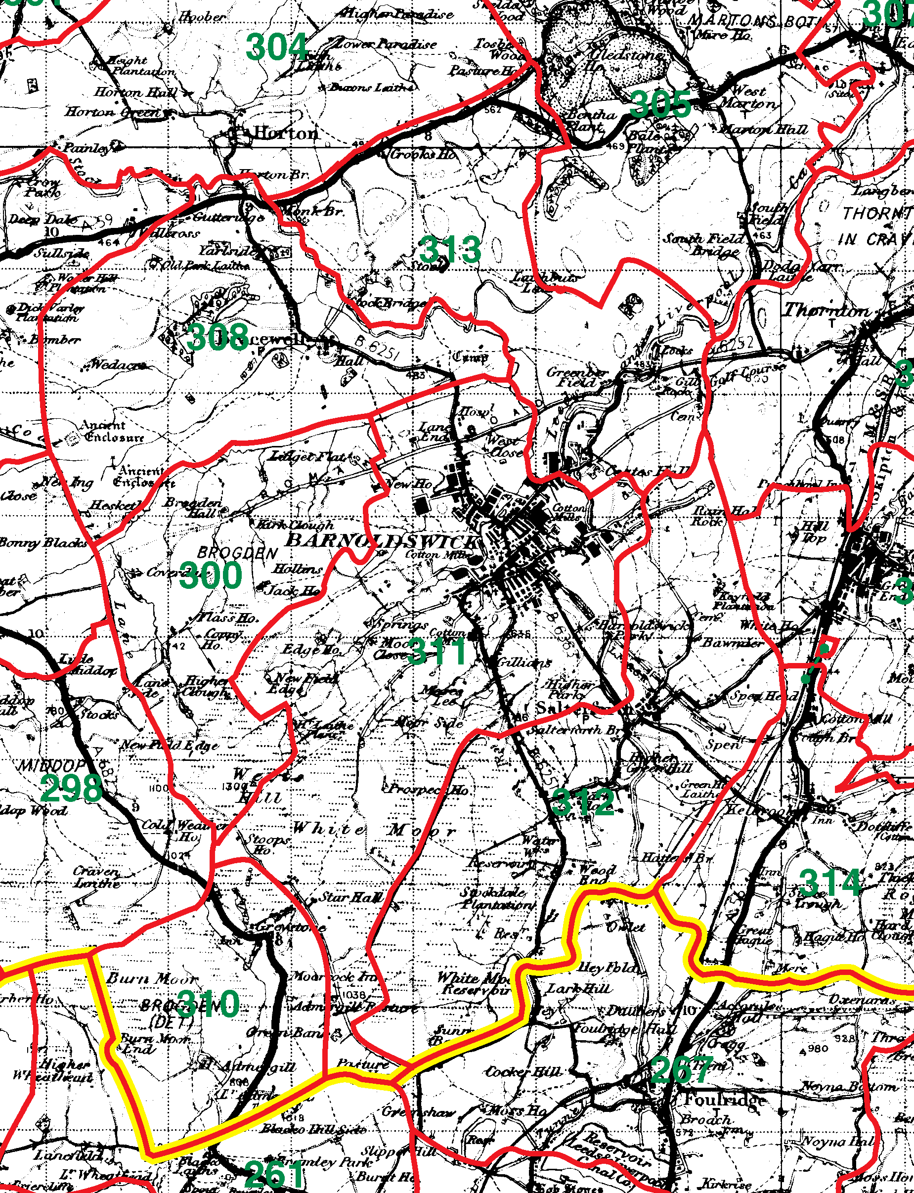 Barnoldswick boundaries map