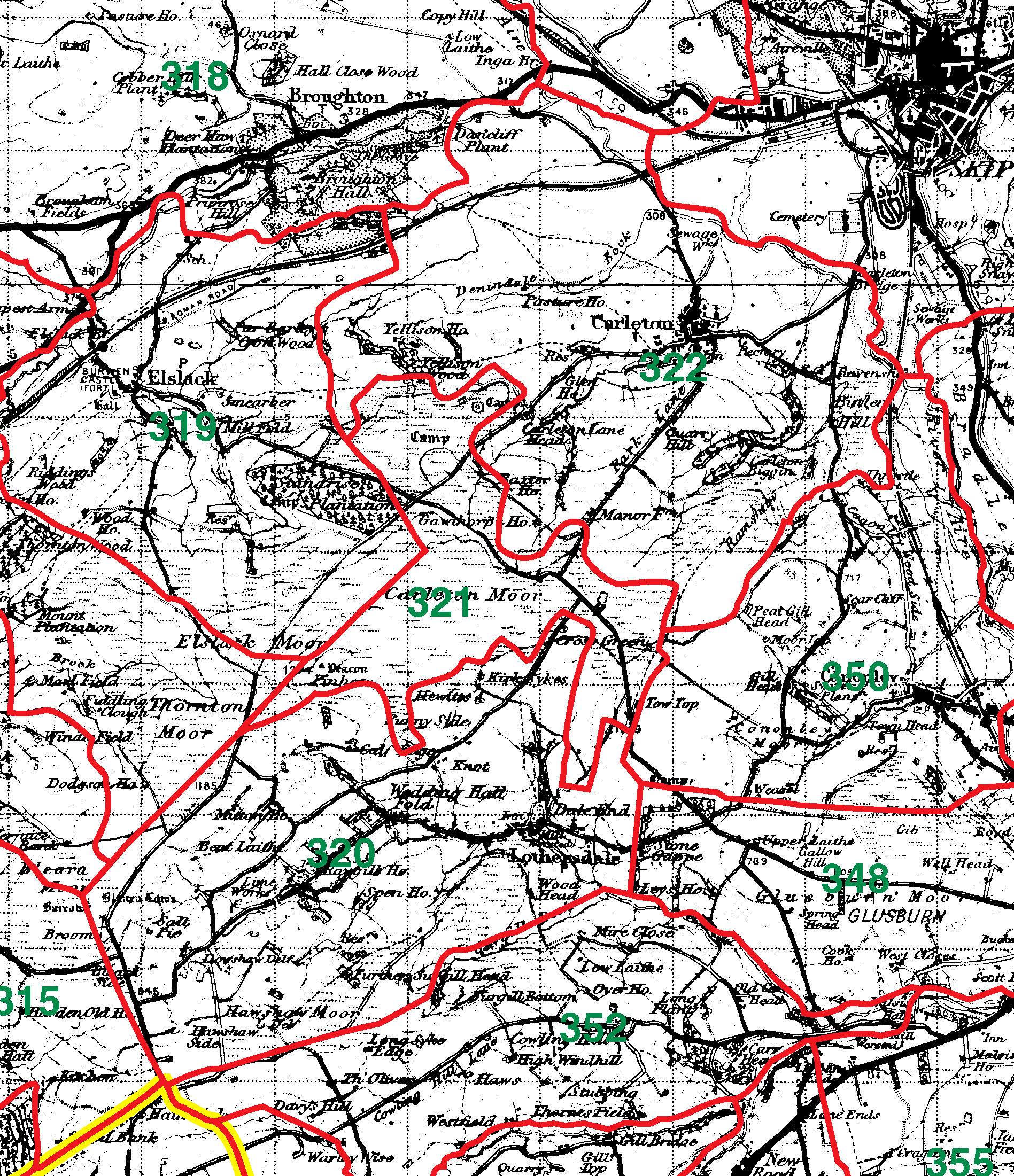 Carleton In Craven boundaries map