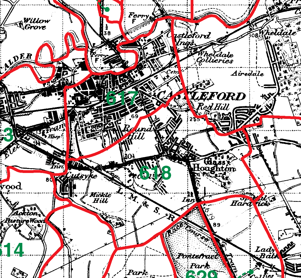 Castleford boundaries map