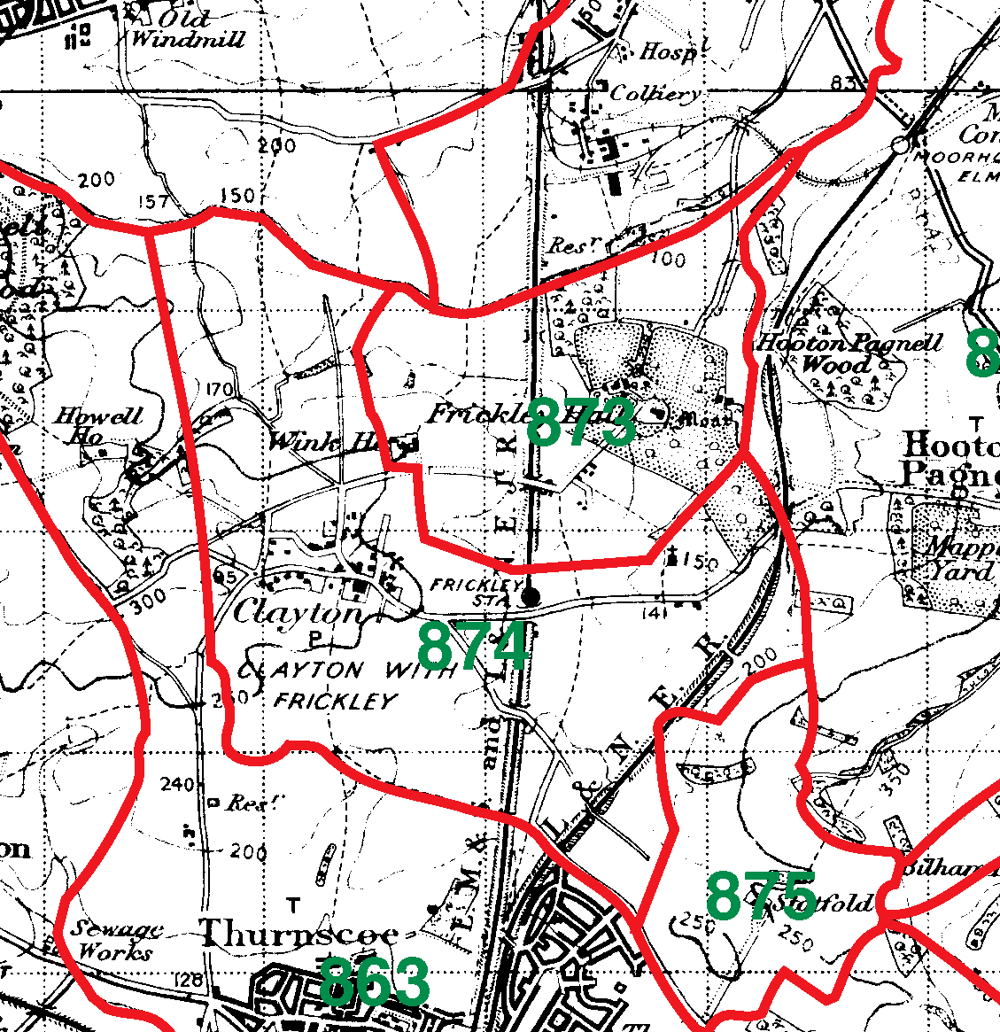 Frickley With Clayton boundaries map