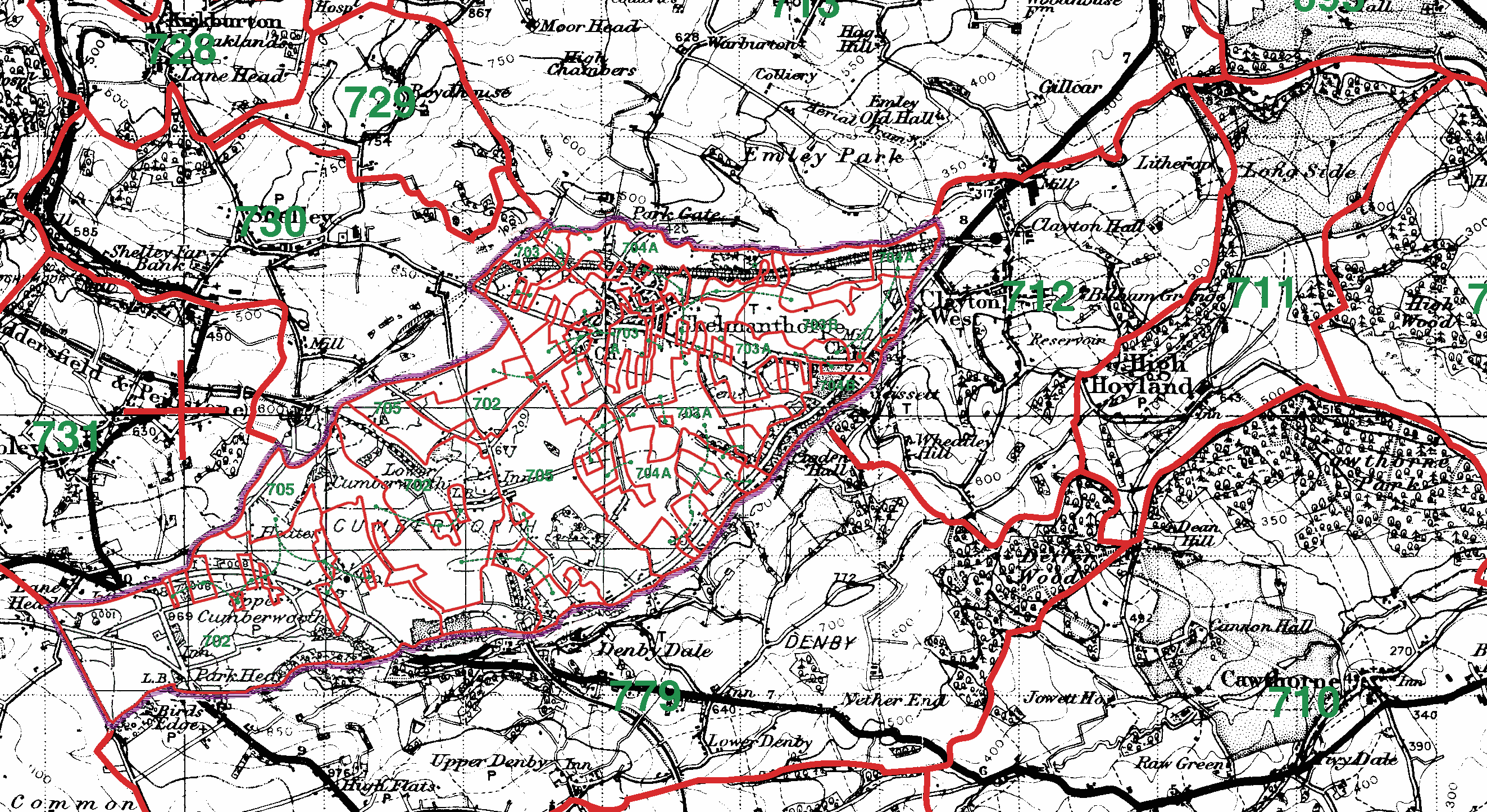 High Hoyland boundaries map