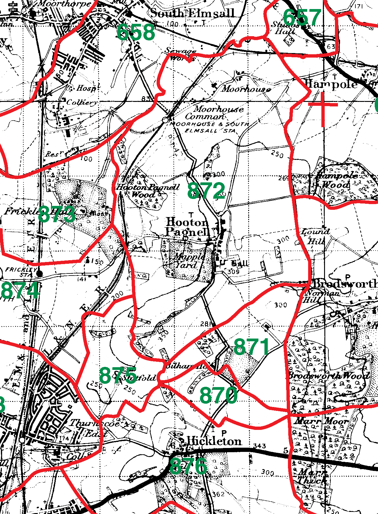 Hooton Pagnell boundaries map