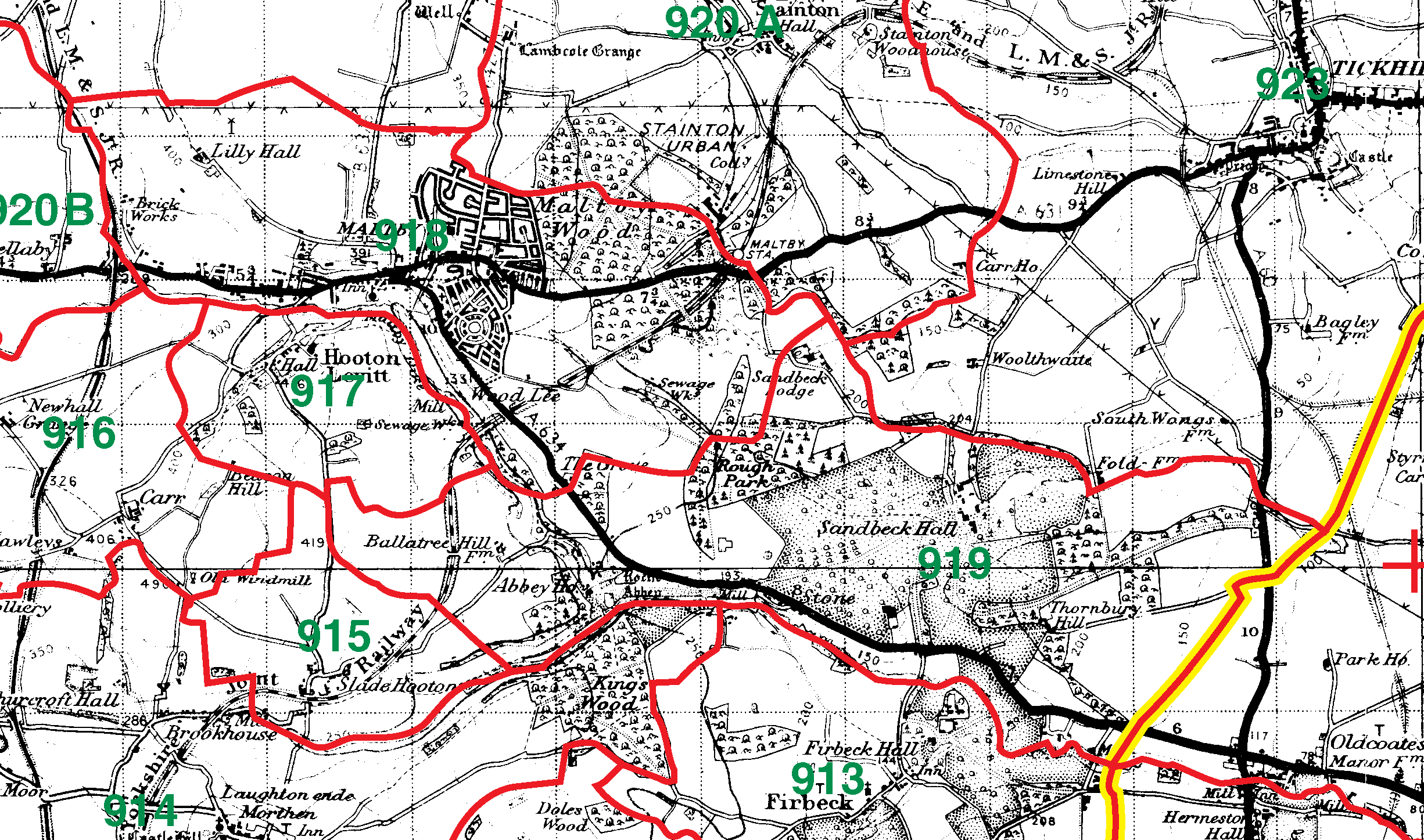 Maltby boundaries map