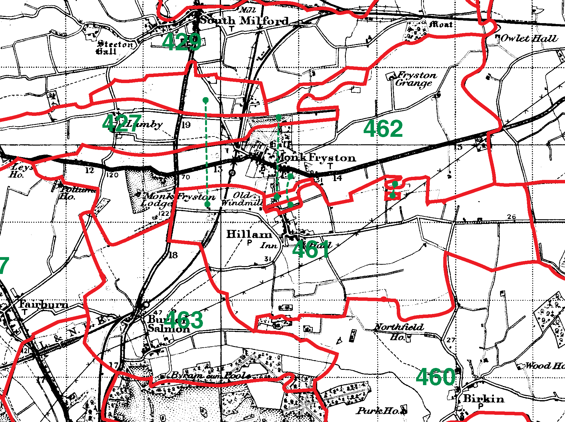 Monk Fryston boundaries map