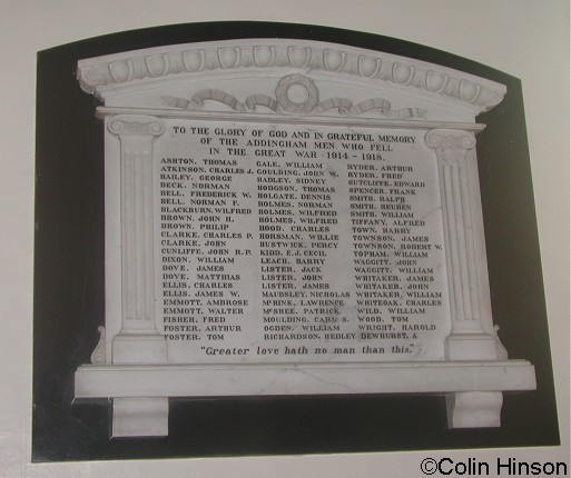 The plaque on the inside Church wall To those who fell in the 1914-18 war.