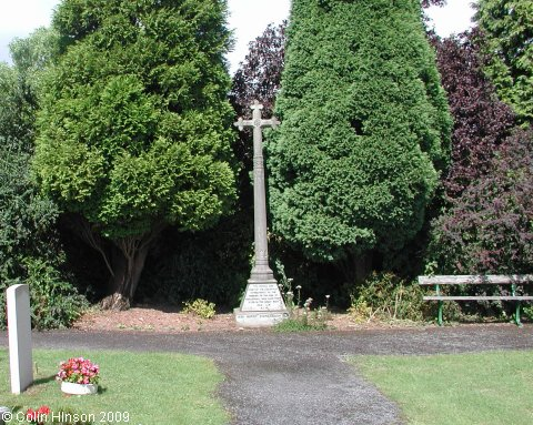 The World Wars I and II memorial in the churchyard at Sicklinghall.