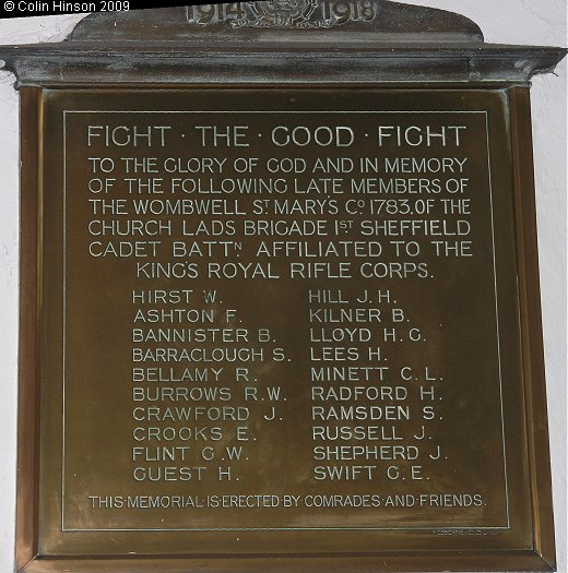 The World War I Memorial Plaque to the late members of Church Lads Brigade, in St. Mary's Church, Wombwell.