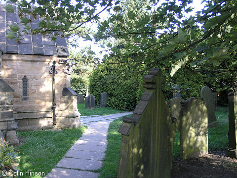 The view from the side of the Church towards the entrance path, Ackworth Moor Top