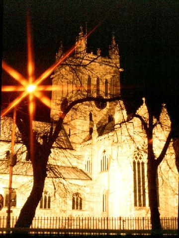 Selby Abbey floodlit, Selby