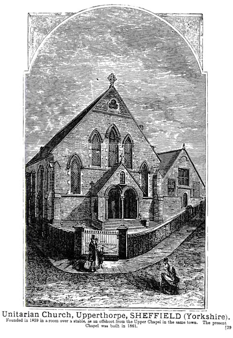 An old drawing of the Unitarian Church, Upperthorpe