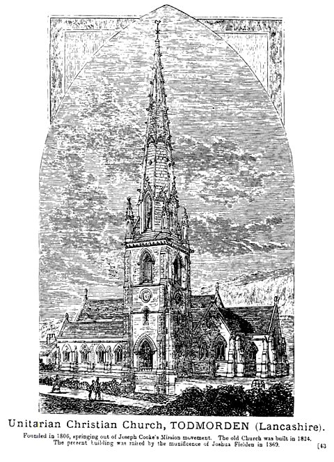 An old drawing of the Unitarian Church, Todmorden