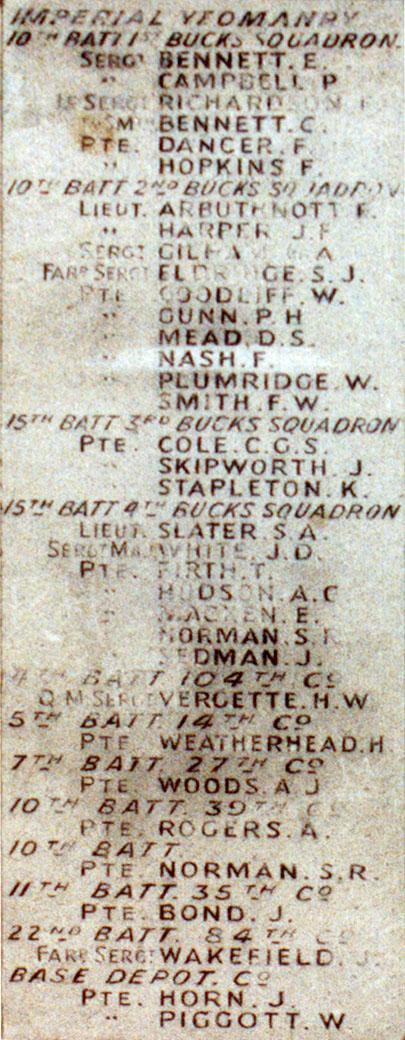 Boer War Memorial, Coombe Hill, Wendover - Panel 2