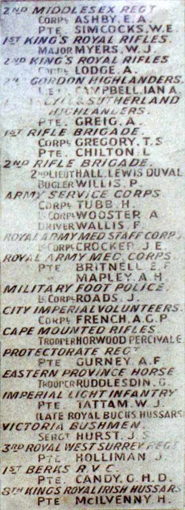 Boer War Memorial, Coombe Hill, Wendover - Panel 5