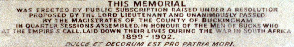 Boer War Memorial, Coombe Hill, Wendover - Top Panel