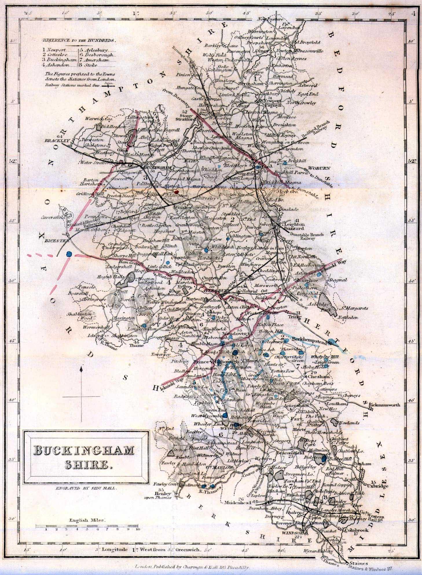 1858 Map of Buckinghamshire