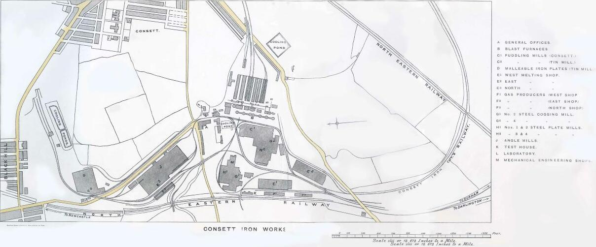 Map of Consett Iron Works