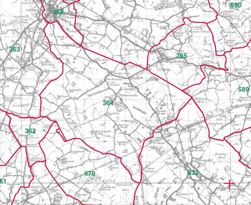 Bickerstaffe Map