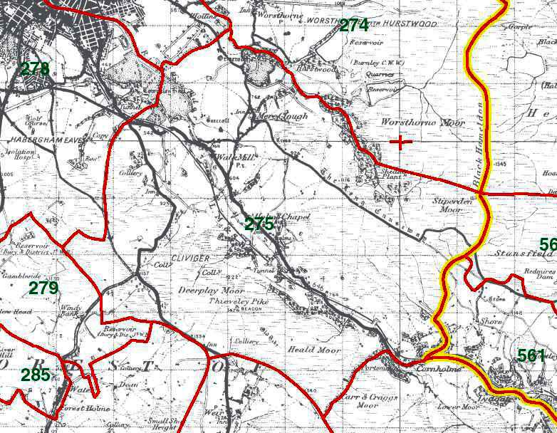 Cliviger Map