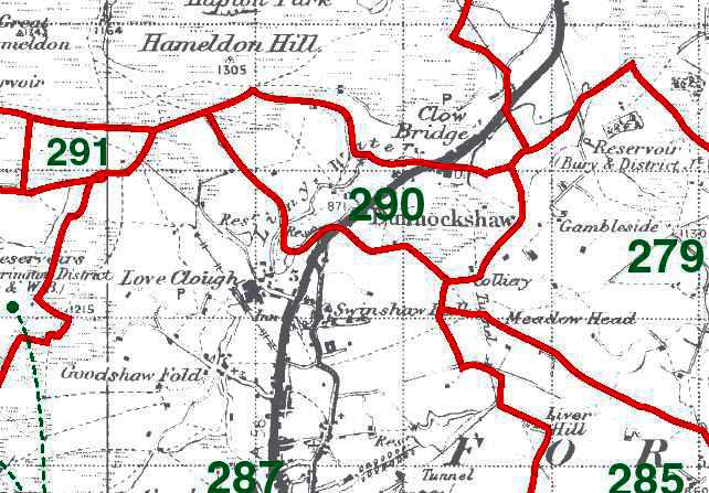 Dunnockshaw Map