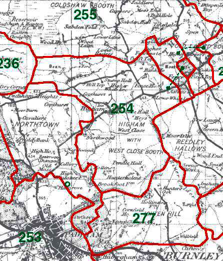 Higham with West Close Booth Map
