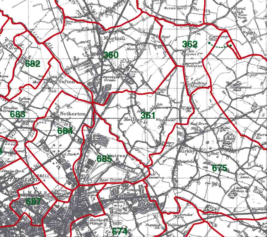 Melling in Halsall Map