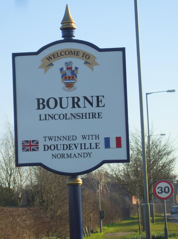 town sign close-up