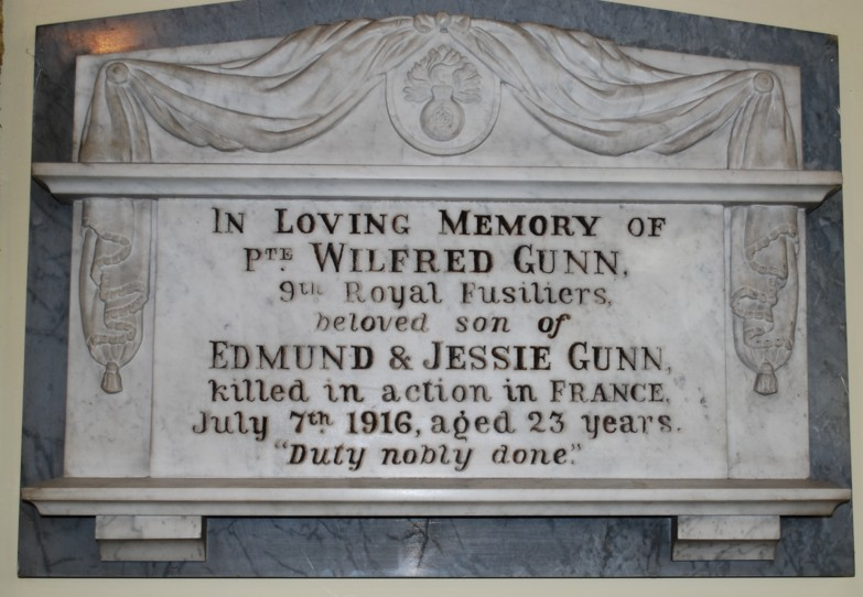 Photograph of the World War 1 Memorial to Wilfred Gunn