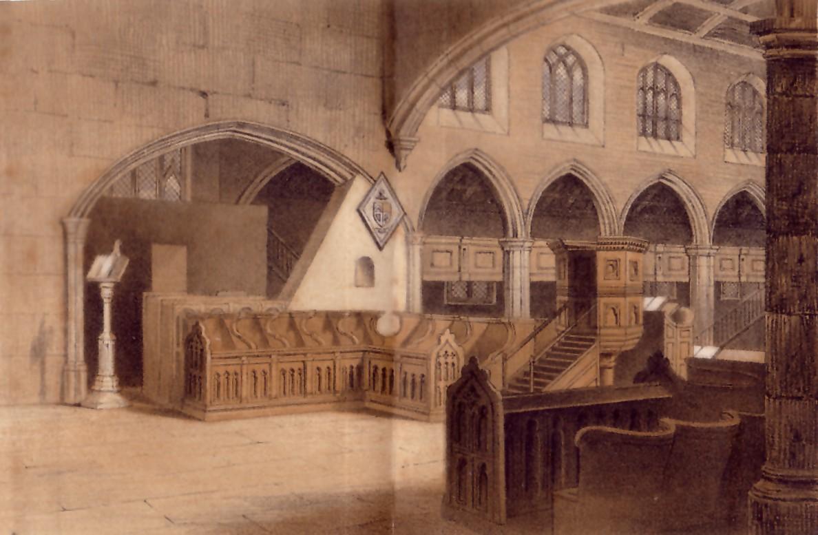 interior of St Bartholomew's Church pre-1827